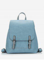 Embroidery Double Buckle Flap School Backpack -