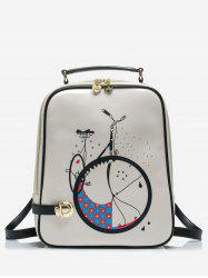 Bike Print Top Handle School Backpack -