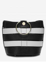 Circle Handle Striped Crossbody Bag -