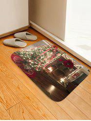 Christmas Tree Fireplace Pattern Water Absorption Anti-skid Area Rug -
