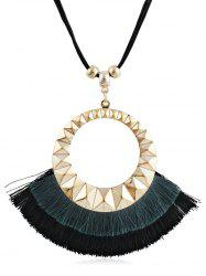 Round Design Tassel Decorative Sweater Necklace -