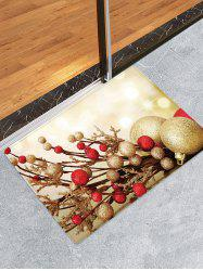 Christmas Balls Branch Pattern Water Absorption Area Rug -