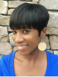 Full Bang Short Pixie Cut Straight Human Hair Wig -