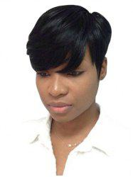 Inclined Bang Straight Short Pixie Cut Human Hair Wig -