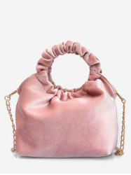 Round Shape Handle Handbag with Chain Strap -
