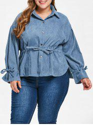 Plus Size Corduroy Drawstring Blouse -