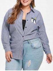 Plus Size Striped Penguin Print Shirt -