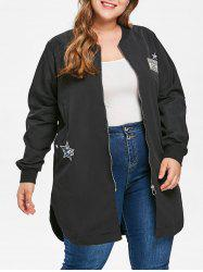 Plus Size Zipper Coat with Pocket -