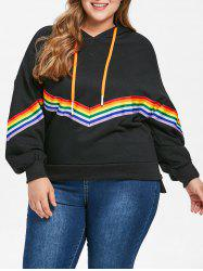 Plus Size Rainbow Trim Drop Shoulder Hoodie -