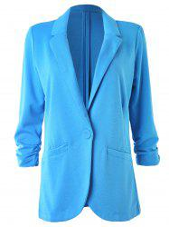 Ruched Sleeve One Button Lapel Blazer -