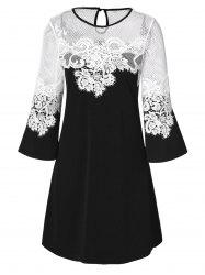 Lace Panel Openwork A Line Dress -