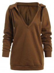 Low V Neck Cut Out Hoodie -