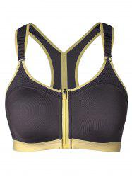 Two Tone Zip Front Workout Bra -