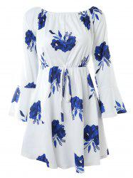 Boat Neck Flare Sleeve Flower Sewing Dress -