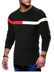 Panel Long Sleeve Pullover Sweater -