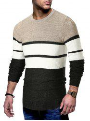 Long Sleeve Color Block Striped Sweater -