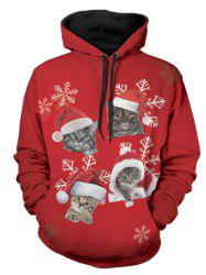 Christmas Cats Print Pullover Hoodie -