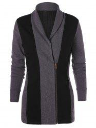 Two Tone Zip Up Knit Cardigan -