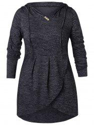 Plus Size Buttoned High Low Hoodie -