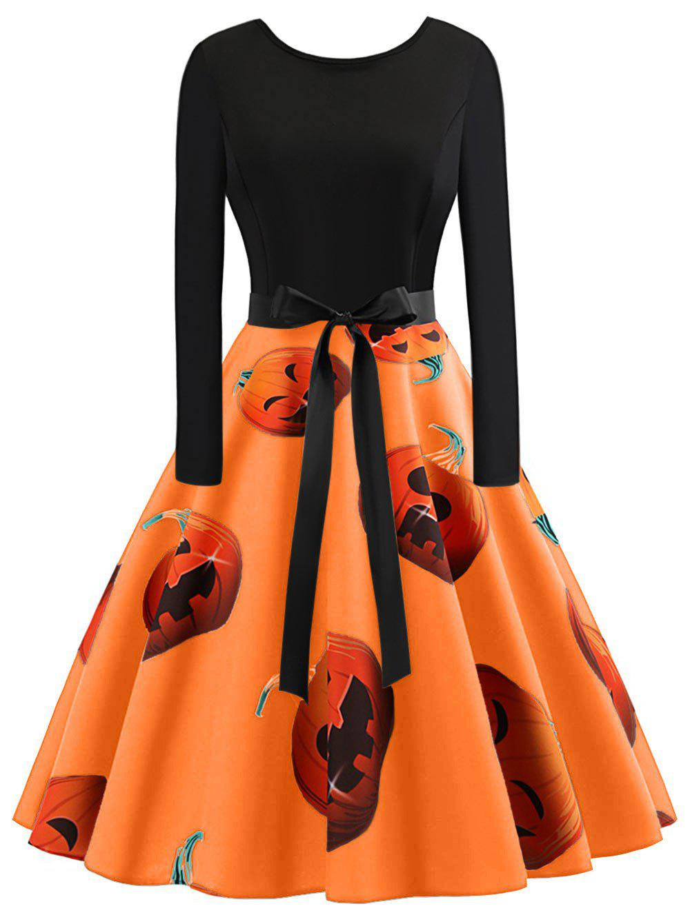 Discount Plus Size Vintage Pumpkin Halloween Dress