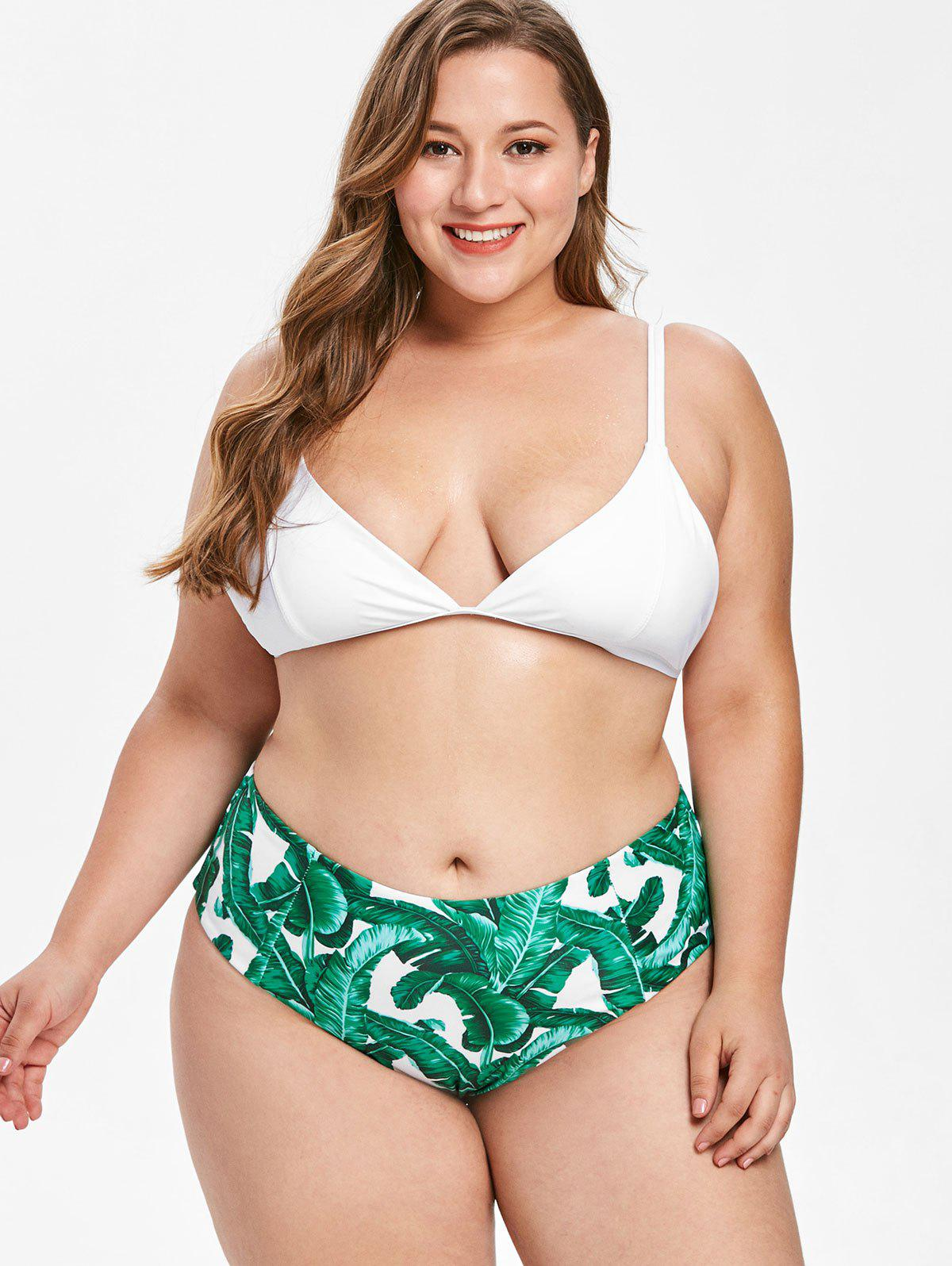 Best Plus Size Leaf Plunging Bikini Set