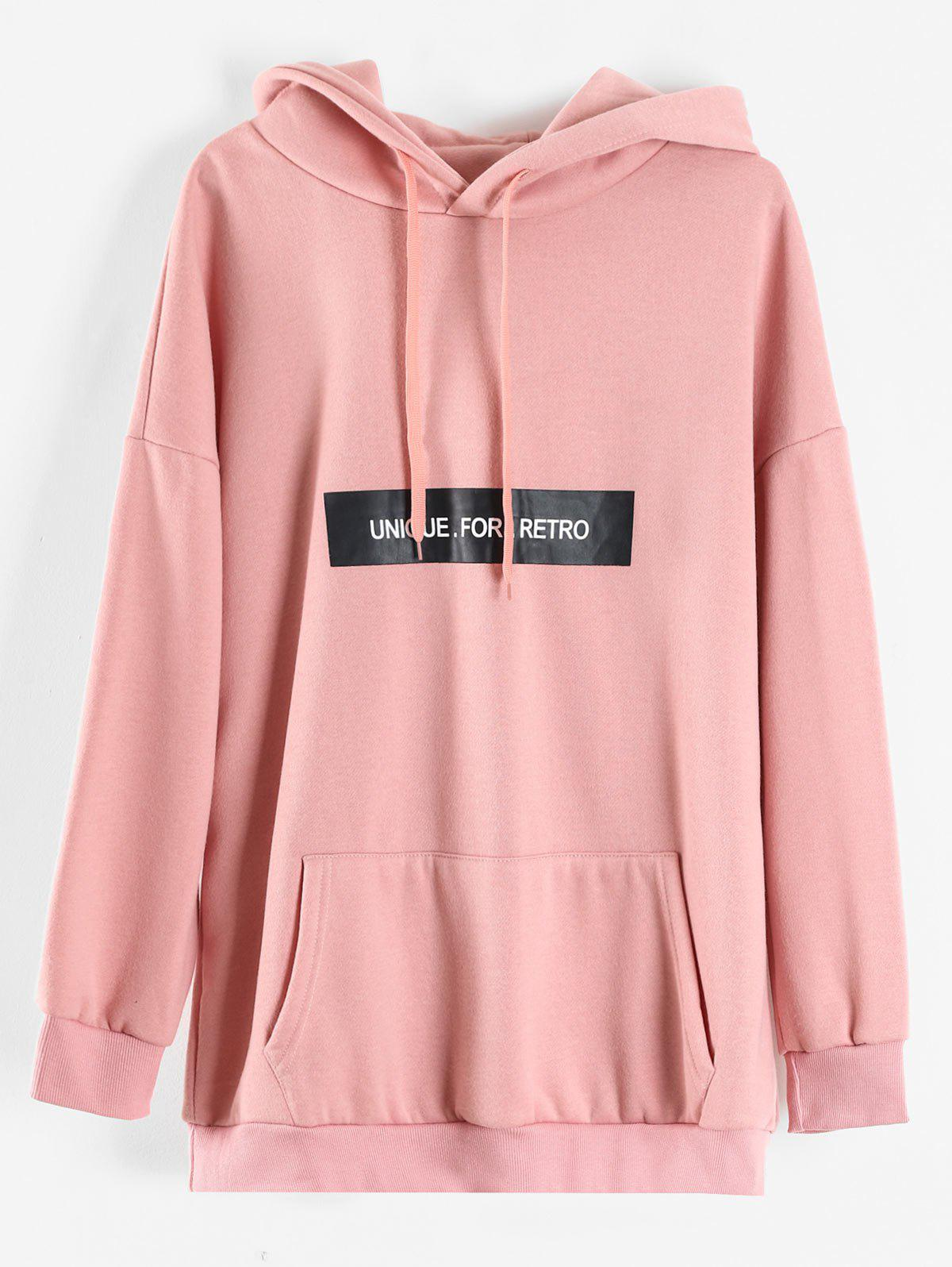 Store Plus Size Letters Longline Hoodie with Pockets