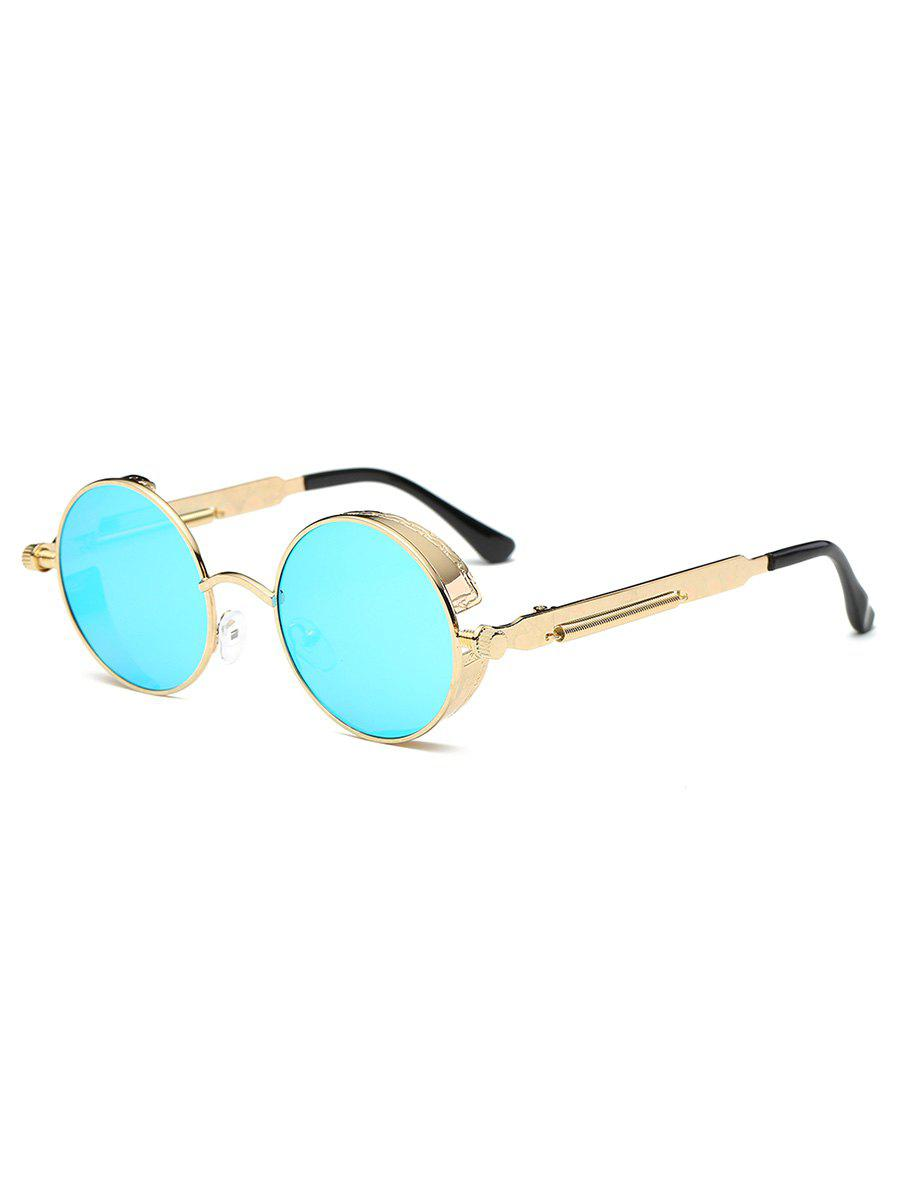 Anti Fatigue Metal Frame Flat Lens Round Sunglasses