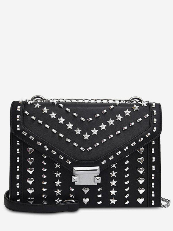 Shops Heart Shape Rivet Chic Chain Crossbody Bag