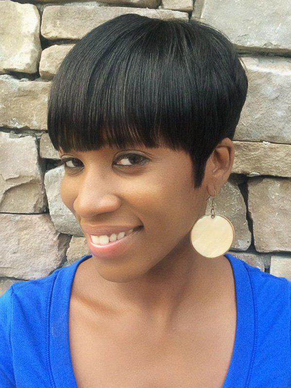 Fashion Full Bang Short Pixie Cut Straight Human Hair Wig
