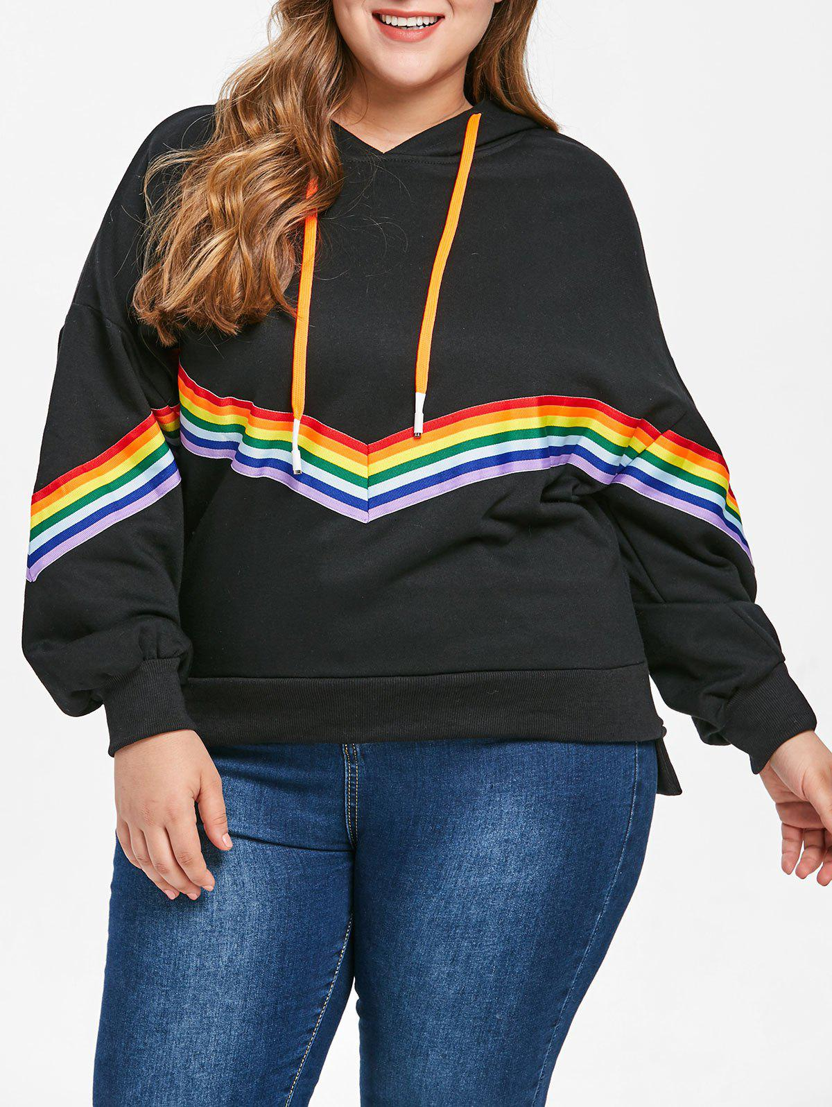 Outfit Plus Size Rainbow Trim Drop Shoulder Hoodie