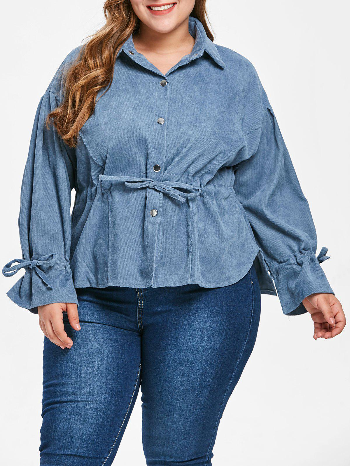 Unique Plus Size Corduroy Drawstring Blouse