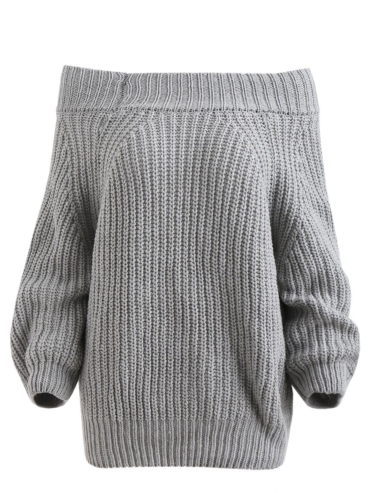 Fashion Off The Shoulder Plain Sweater