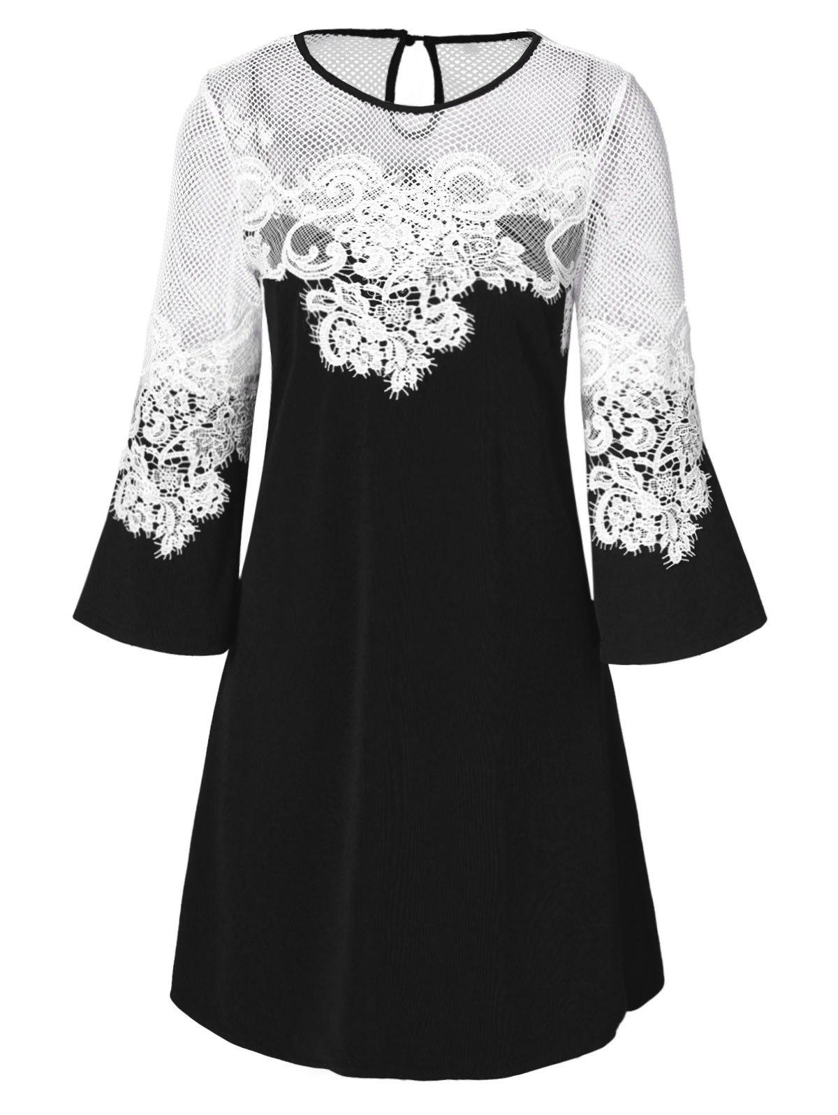Trendy Lace Panel Openwork A Line Dress
