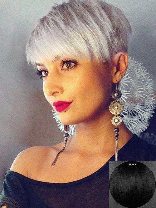 Buy Inclined Fringe Human Hair Short Straight Pixie Wig
