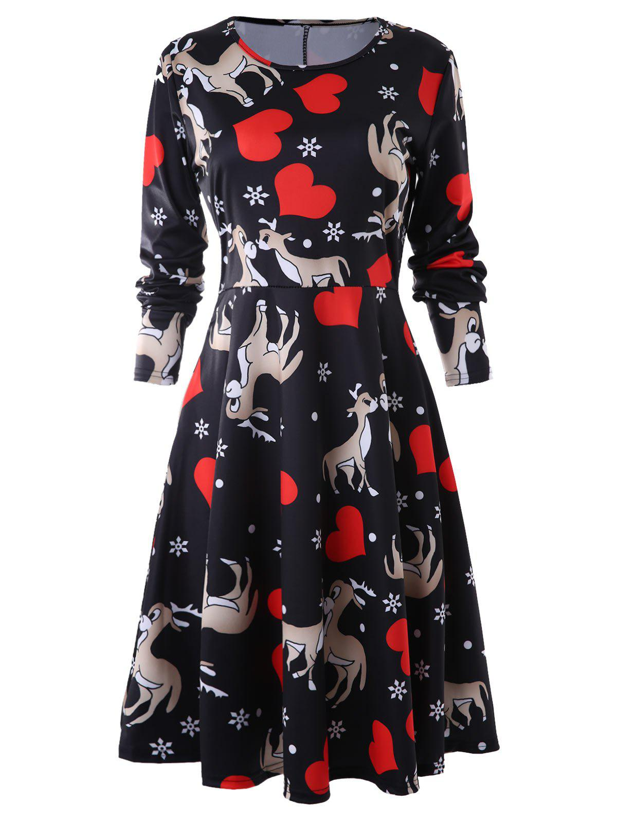Outfit Heart Deer Print A Line Dress