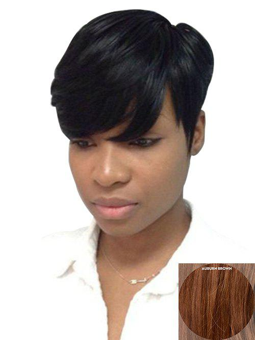 Unique Inclined Bang Straight Short Pixie Cut Human Hair Wig