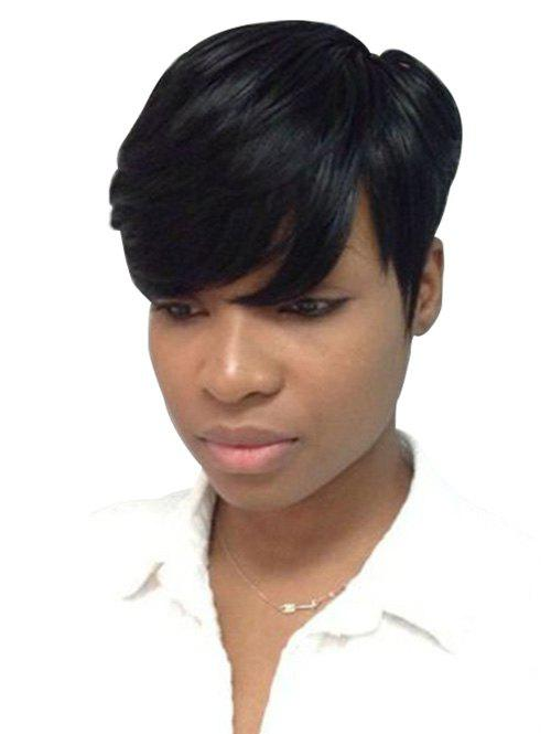 Store Inclined Bang Straight Short Pixie Cut Human Hair Wig