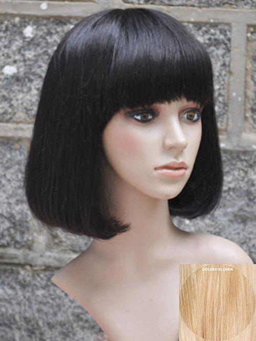 Unique Full Bang Capless Short Straight Bob Human Hair Wig