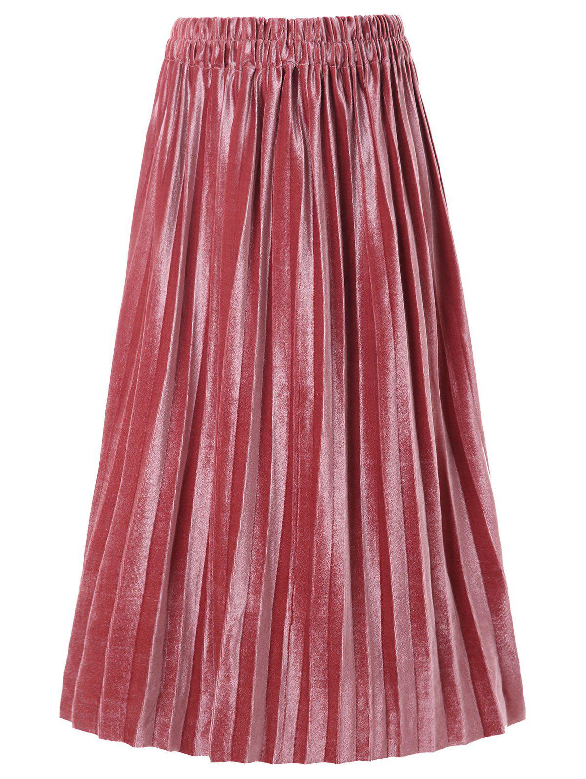 Shop Velvet Pleated Mid Skirt