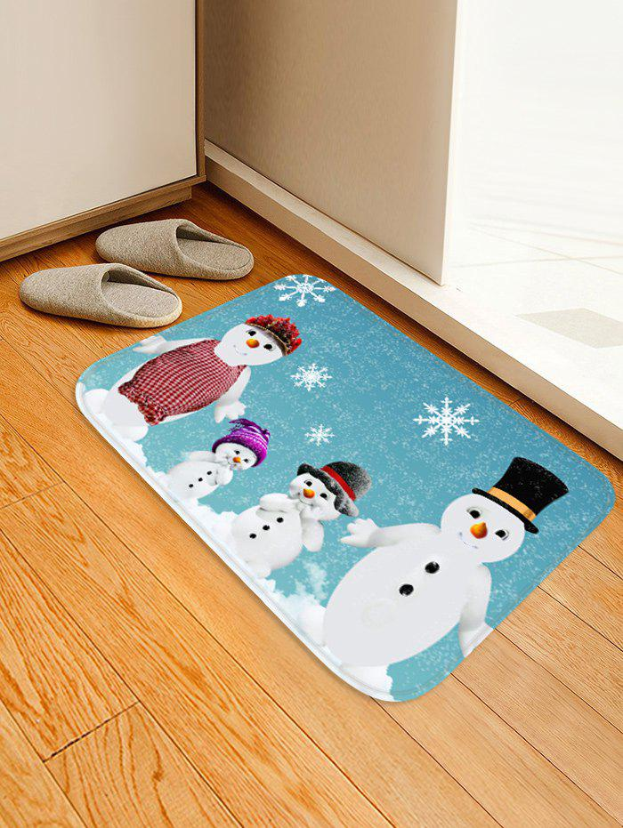 Fashion Christmas Snowflake Snowman Family Printed Floor Mat