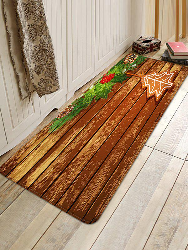 Unique Christmas Wood Grain Pattern Anti-skid Water Absorption Area Rug