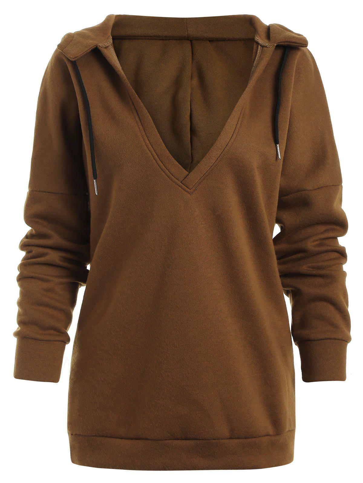 Store Low V Neck Cut Out Hoodie