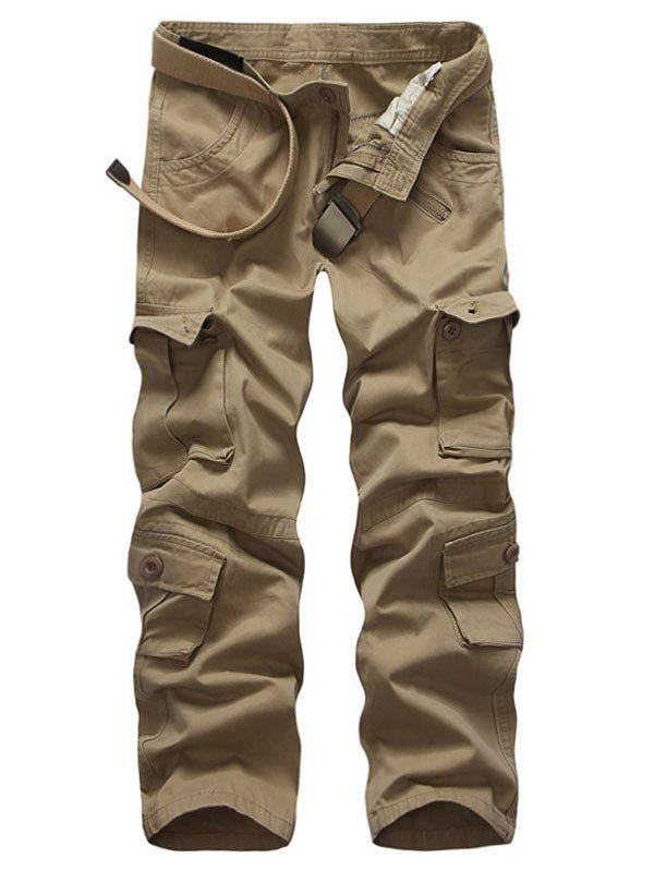 Sale Zip Up Multi Pockets Solid Cargo Pants