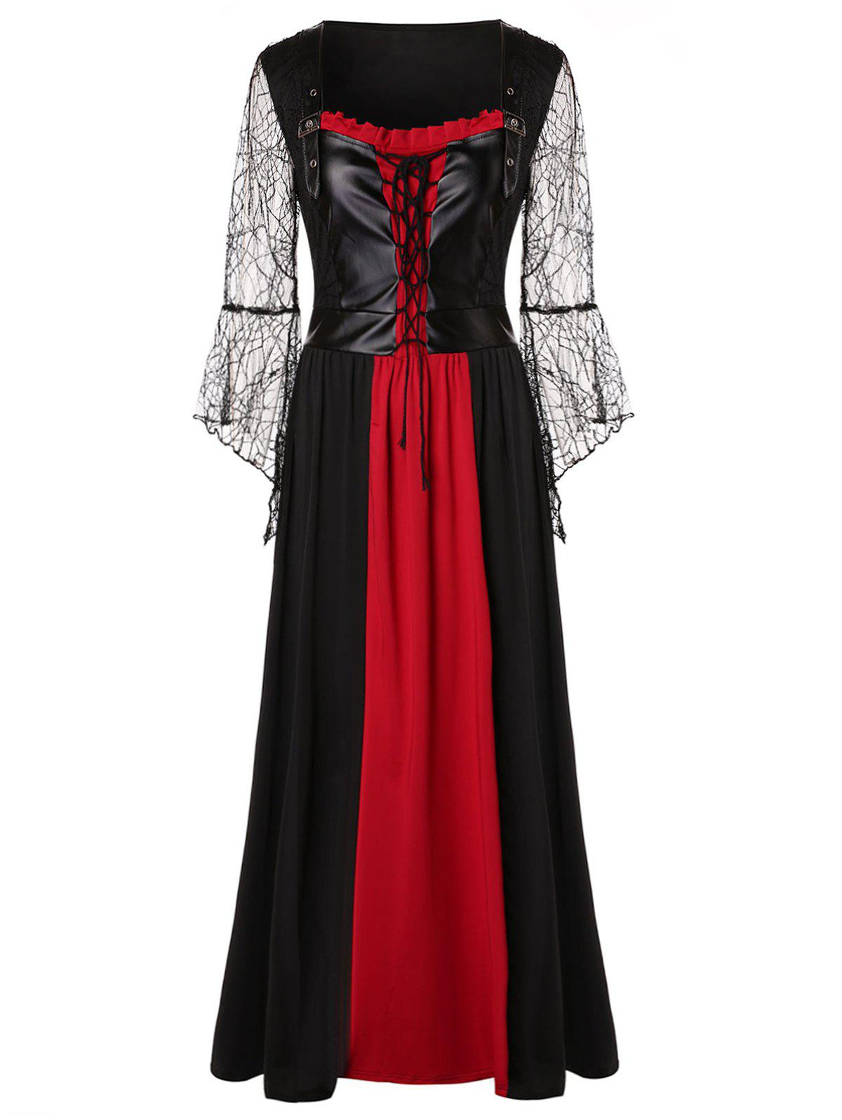Hot Plus Size Lace Up Maxi Halloween Dress