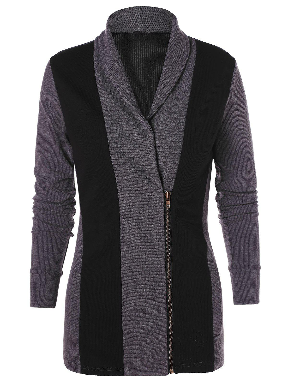 Latest Two Tone Zip Up Knit Cardigan