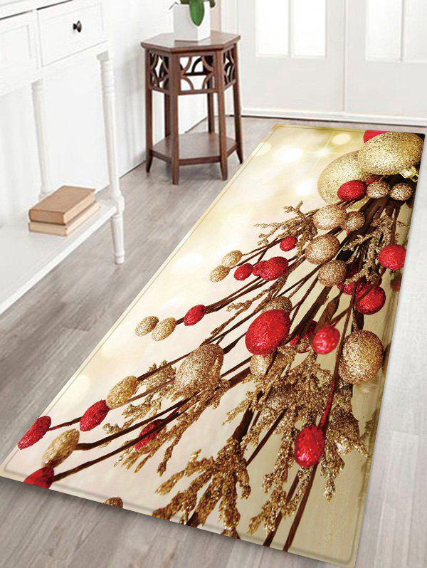 Outfits Christmas Balls Branch Pattern Water Absorption Area Rug