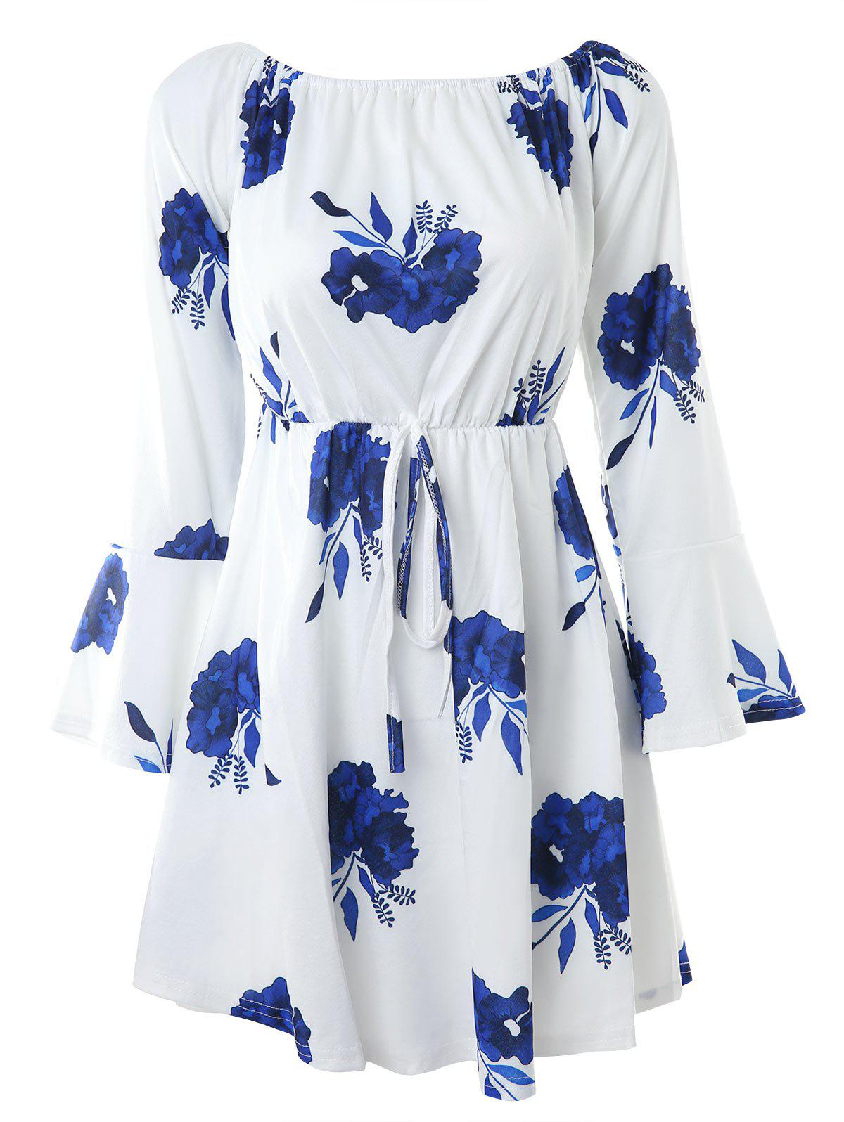 Cheap Boat Neck Flare Sleeve Flower Sewing Dress