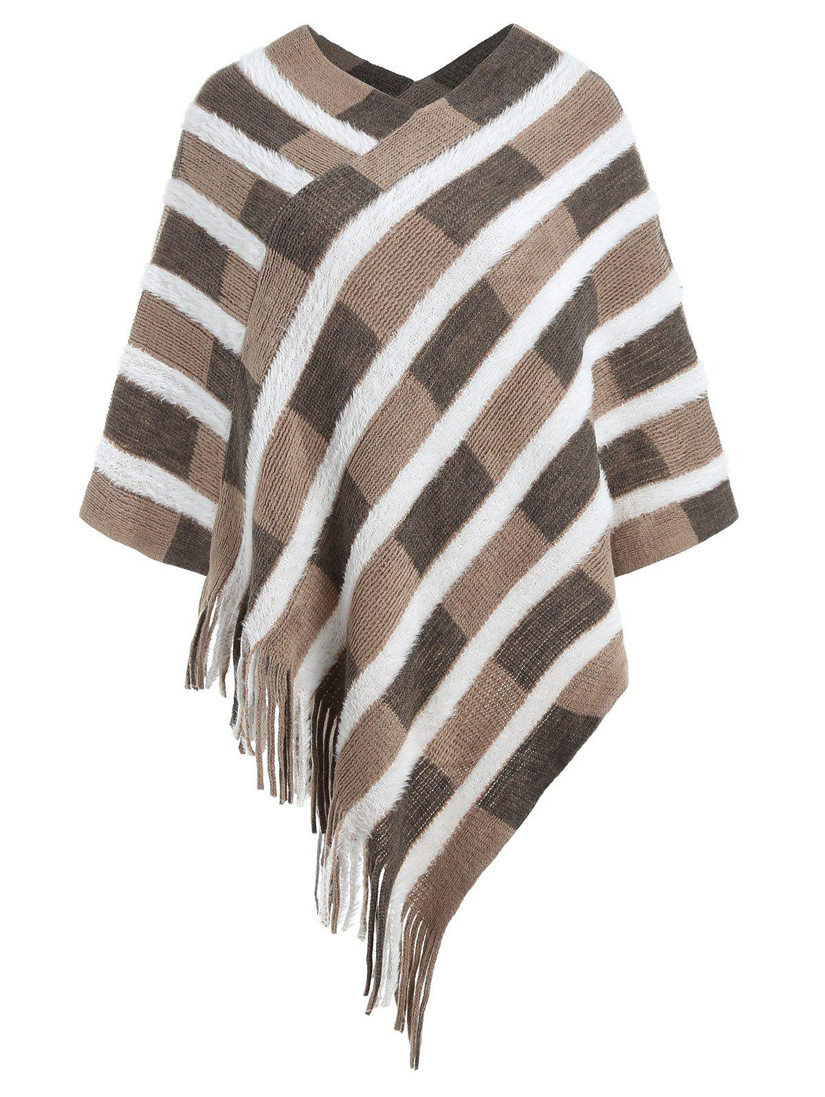 Affordable Asymmetric Fringed Cape Sweater