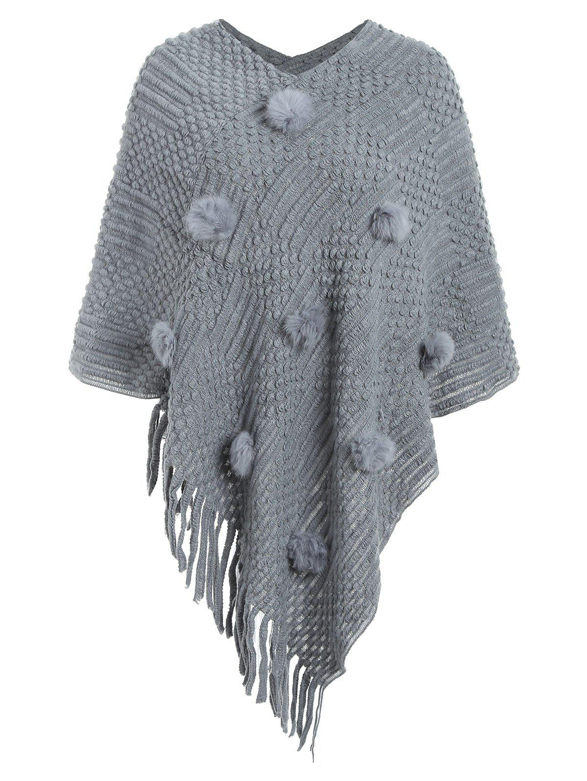 Trendy Fuzzy Ball Fringed Cape Sweater