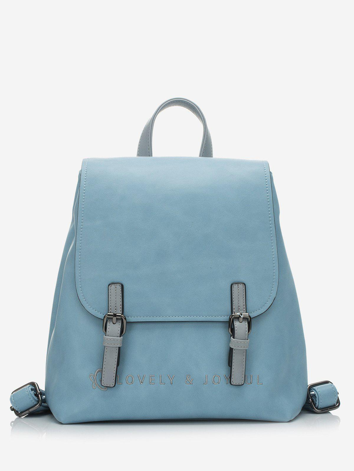 Outfits Embroidery Double Buckle Flap School Backpack
